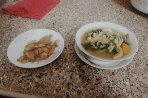 Tiny fried fish and vegetable soup