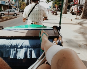 How to elevate an injured leg in a tuktuk!